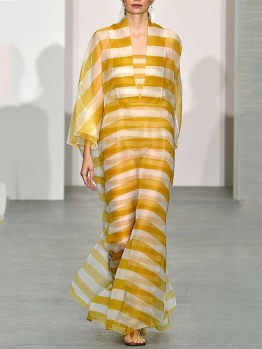 Fashion Loose Yellow Stripe Maxi Dress