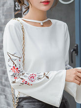 Load image into Gallery viewer, Autumn Spring  Polyester  Women  Embroidery Long Sleeve T-Shirts