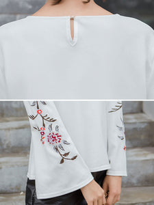 Autumn Spring  Polyester  Women  Embroidery Long Sleeve T-Shirts