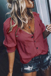 Deep  V  Neck   Plain  Casual   Blouses