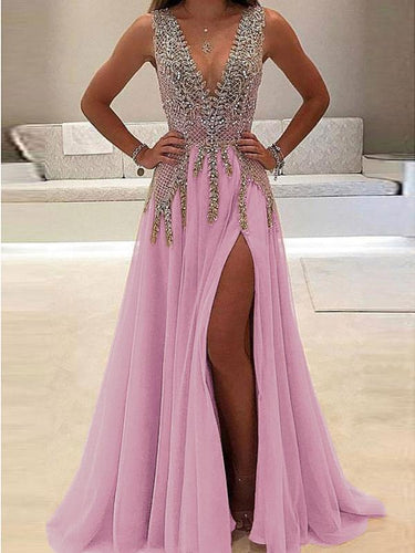 Sleeveless Deep V Sexy Maxi Evening Dress