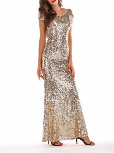Sequined Fashion Sexy Backless Evening Dress