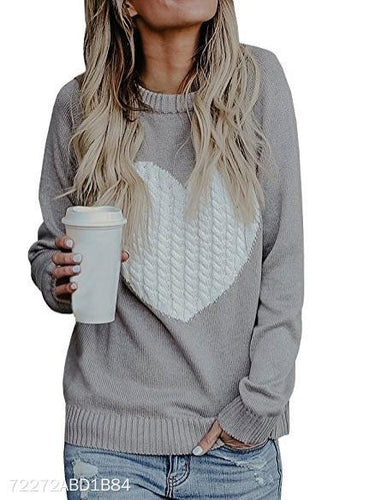 Solid Color Long Sleeve Circular Neck Knit Sweater