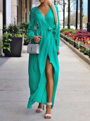 Sexy V-Neck Split Long Dress