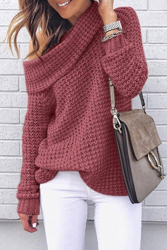 Sexy Oblique Collar Knitting Long Sleeve Plain Sweaters