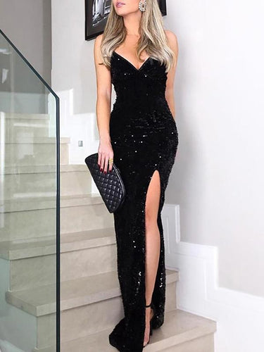 V-Neck  High Slit  Glitter Shimmering Powder  Tie/Dye Evening Dresses
