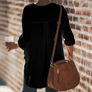 Pure Color Loose Long Sleeve Blouse