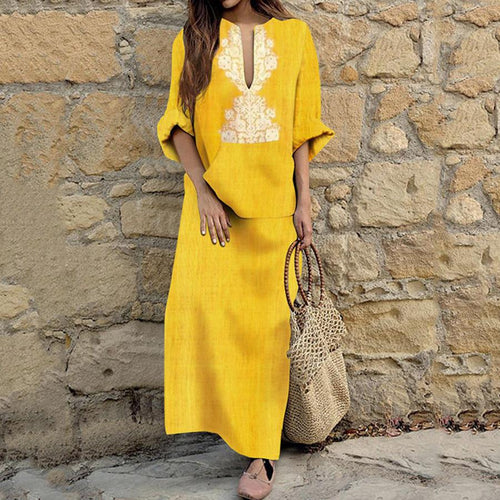 Loose Long-Sleeved Cotton And Linen Dress