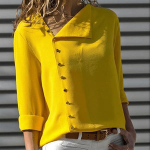 Chic Irregular Diagonal Collar Button Long Sleeve Blouse