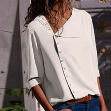 Load image into Gallery viewer, Chic Irregular Diagonal Collar Button Long Sleeve Blouse