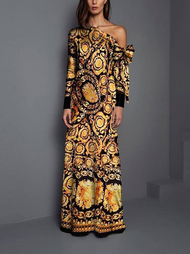 Sexy Fashion Floral Print Long Sleeve Maxi Dresses