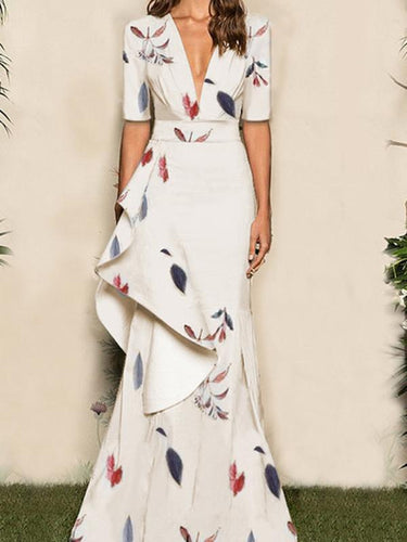 Sexy Floral Deep V Collar Medium Sleeve Evening Dress