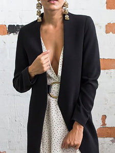 Collarless  Cutout  Quilted  Plain Blazers