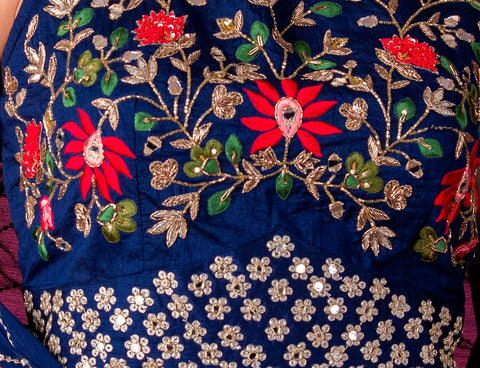 Blue Palazzo Set with embroidered Top and Cape - Shreeman
