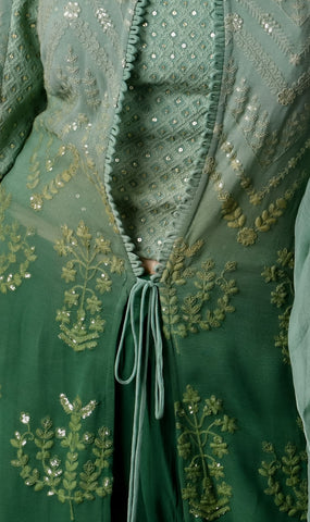 Green Indo-western with long jacket paired with Palazzo - Shreeman
