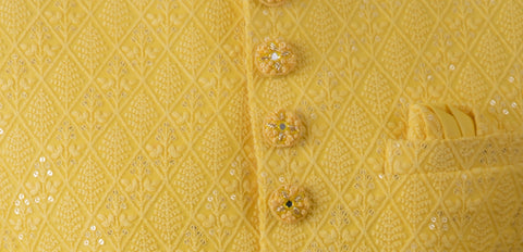 Yellow Lucknowi Indo Western Set with intricate embroidery and Pant - Shreeman