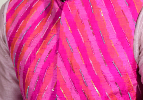Pink  jacket set with sequence work - Shreeman