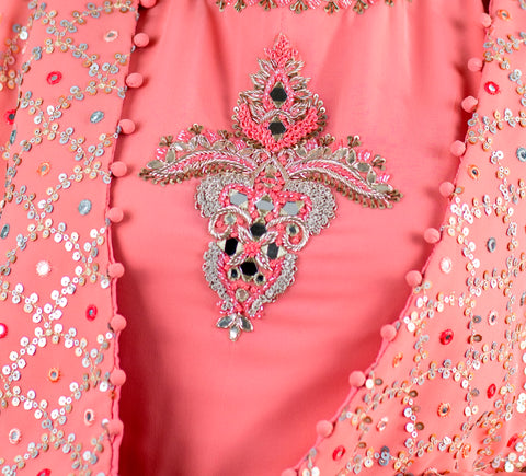 Pink Gown with Short Embroidered Jacket - Shreeman