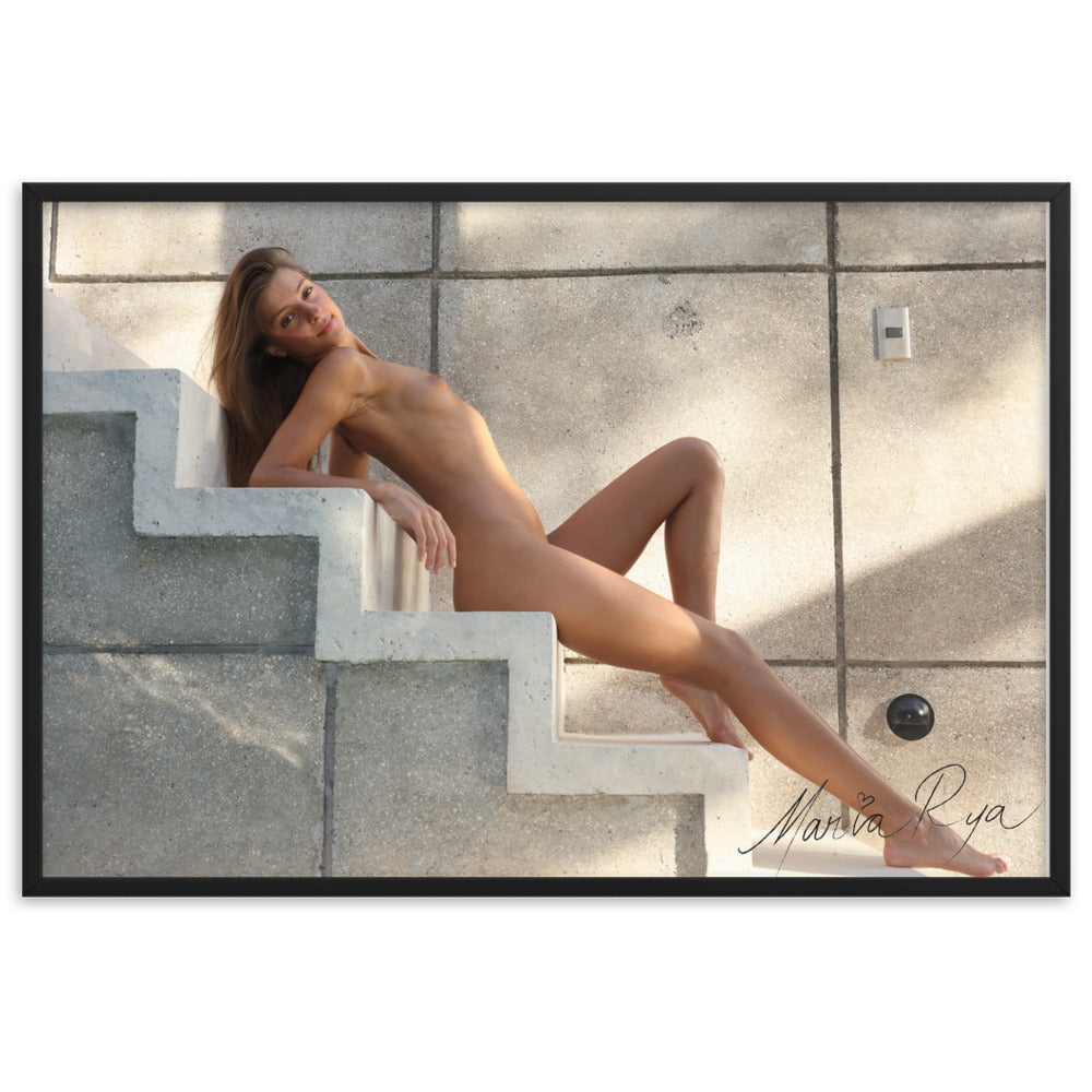 """Me on stairs"" Framed matte paper poster"