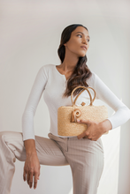 Load image into Gallery viewer, Berlodge Bag, Leinné Raffia, upcycled linen, ecoluxury bag
