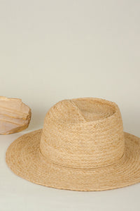 Masculin hat, Fedora hat, Reflective Pace - Resort 2020, Raffia hat with Wooden Button
