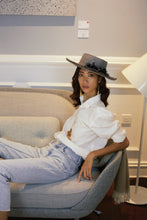 Charger l'image dans la visionneuse de galerie, Thinking of the stars hat, Boater hat, Reflective Pace - Resort 2020, Eco linen, Eco luxury
