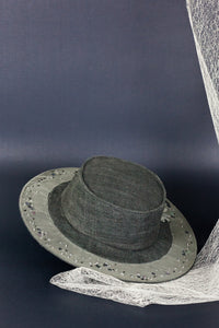 Thinking of the stars hat, Boater hat, Reflective Pace - Resort 2020, Eco linen, Eco luxury