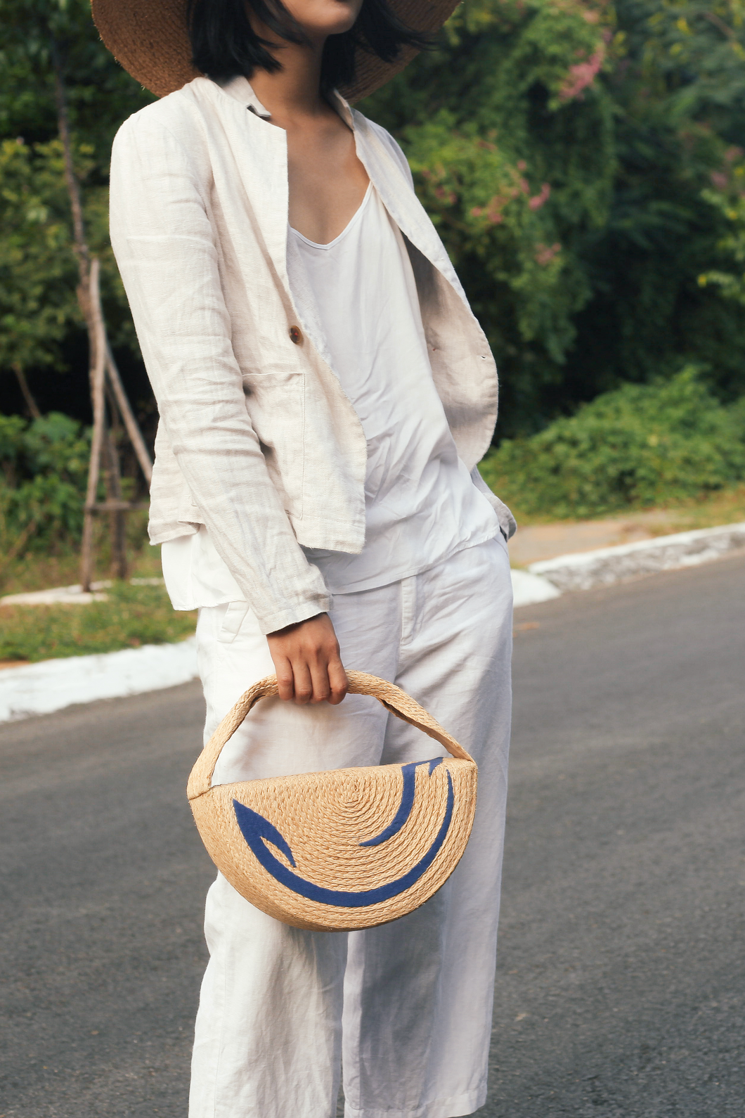 Formscape collection, Raffia and recycled cotton bag, Eco Luxury, Wave hat