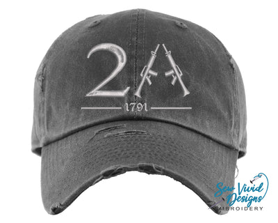 2A Hat (Second Amendment) | Baseball Cap OR Ponytail Hat - Sew Vivid Designs