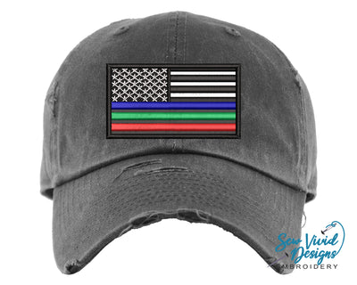 Three Color Thin Blue Line Baseball Cap OR Ponytail Hat, Green & Red Line - Sew Vivid Designs