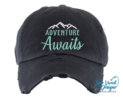 Adventure Awaits Baseball Cap OR Ponytail Hat - Sew Vivid Designs