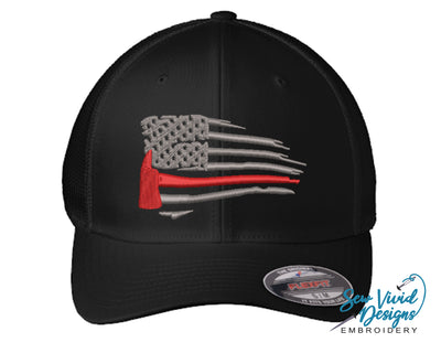 Waving Red Line Ax Fireman Flag FlexFit Hat - Sew Vivid Designs