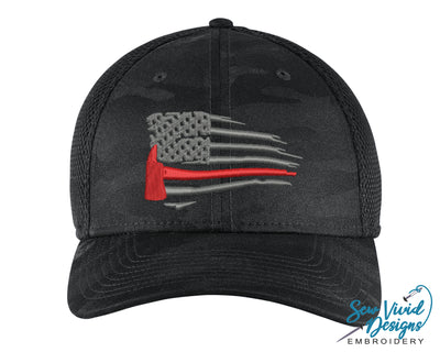 Waving Red Line Ax Flag New Era Hat - Sew Vivid Designs