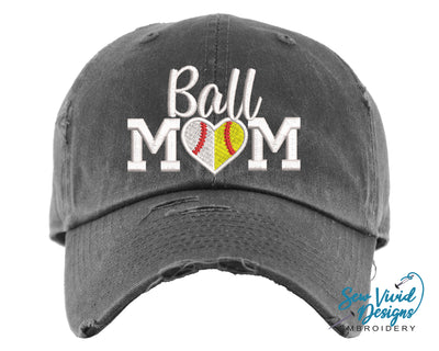 Ball Mom Hat | Baseball Cap OR Ponytail Hat - Sew Vivid Designs