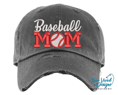 Baseball Mom 2 Hat | Baseball Cap OR Ponytail Hat - Sew Vivid Designs