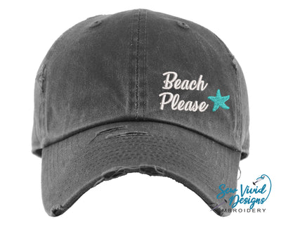Beach Please Starfish Hat | Baseball Cap OR Ponytail Hat - Sew Vivid Designs