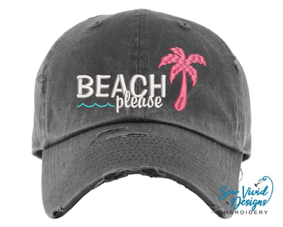 Beach Please Hat | Baseball Cap OR Ponytail Hat - Sew Vivid Designs