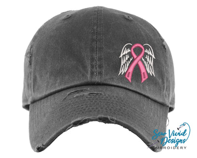 Cancer Ribbon with Wings Hat | Baseball Cap OR Ponytail Hat - Sew Vivid Designs