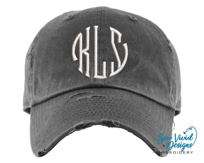 Circle Monogrammed Baseball Cap OR Ponytail Hat - Sew Vivid Designs