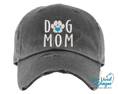 Dog Mom Hat (Heart) | Baseball Cap OR Ponytail Hat - Sew Vivid Designs