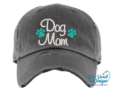 Dog Mom Hat (2 Paws) | Baseball Cap OR Ponytail Hat - Sew Vivid Designs