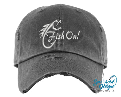 Fish On! Hat | Baseball Cap OR Ponytail Hat | Fishing Hat - Sew Vivid Designs