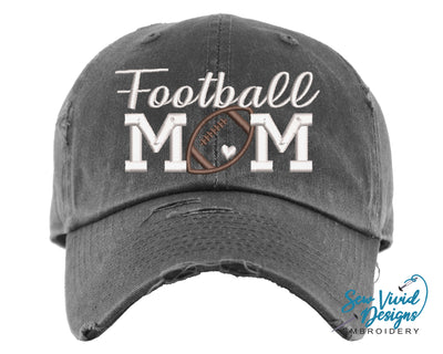 Football Mom Hat with Heart | Baseball Cap OR Ponytail Hat - Sew Vivid Designs