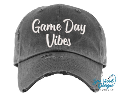 Game Day Vibes Hat | Baseball Cap OR Ponytail Hat - Sew Vivid Designs