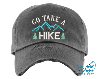 Go Take a Hike Baseball Cap OR Ponytail Hat - Sew Vivid Designs