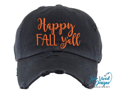 Happy Fall Y'all Hat | Baseball Cap OR Ponytail Hat - Sew Vivid Designs