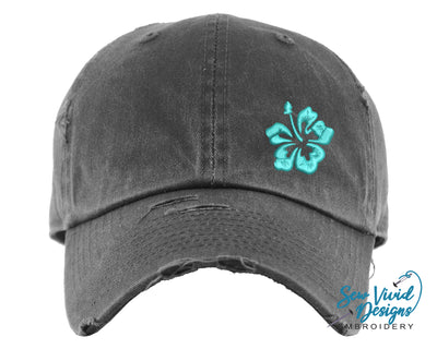 Hibiscus Flower Hat | Baseball Cap OR Ponytail Hat - Sew Vivid Designs
