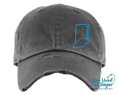Indiana Home Outline Hat | Baseball Cap OR Ponytail Hat - Sew Vivid Designs