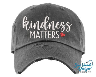 Kindness Matters Heart Baseball Cap OR Ponytail Hat - Sew Vivid Designs