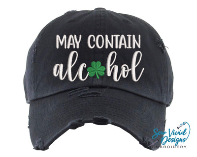 May Contain Alcohol with Shamrock Hat | Baseball Cap OR Ponytail Hat - Sew Vivid Designs